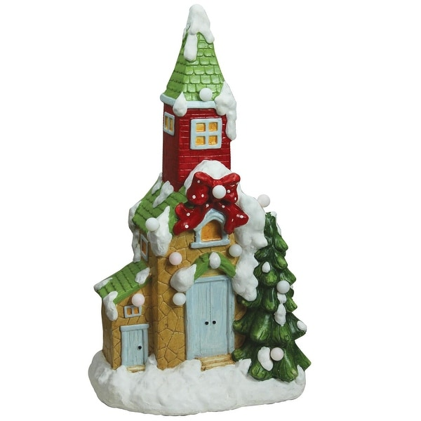 """21.25"""" Christmas Morning Pre-Lit LED Snow Covered Church Decorative Christmas Tabletop Figure - green"""