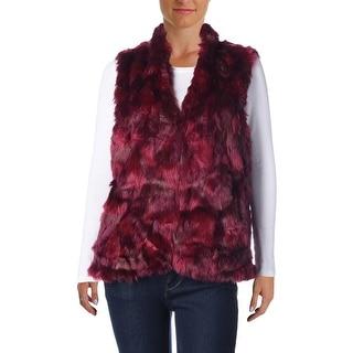 Cynthia Steffe Womens Faux Fur Sleeveless Vest - L