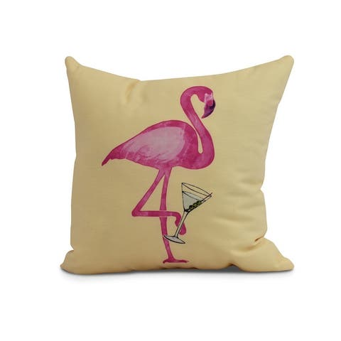 20 x 20 Inch Single Flamingo Animal Print Outdoor Pillow