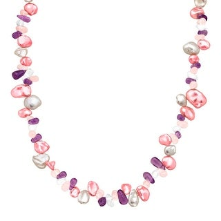 Raspberry & White Keshi Freshwater Pearl Necklace with Gemstones in Sterling Silver - Pink