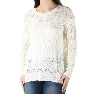 Womens Ivory Long Sleeve Jewel Neck Hi-Lo Sweater Size S