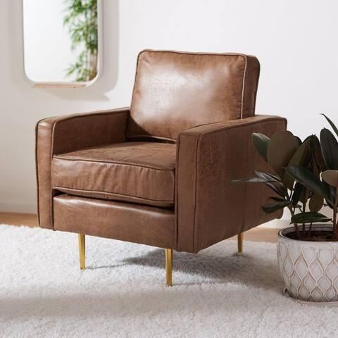 """Safavieh Paityn Brown/Gold Accent Chair - 30.7"""" W x 30"""" L x 33"""" H"""