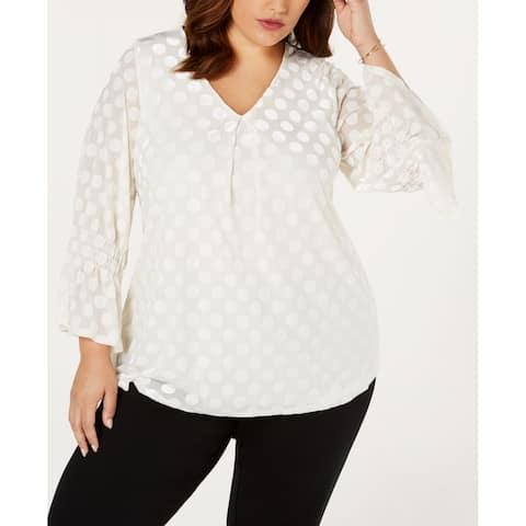 Alfani Women's Blouse White Ivory Size 2X Plus Velvet Polka Dot V-Neck