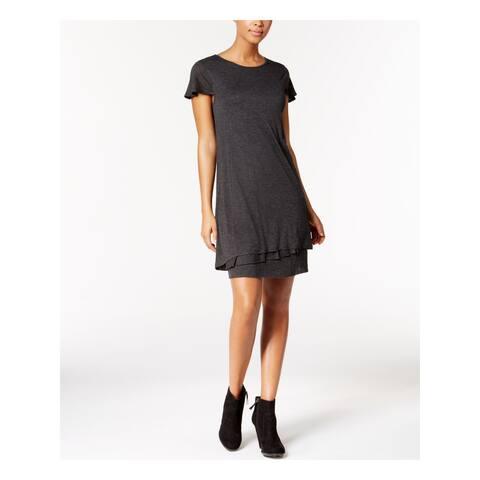 KENSIE $69 Womens New 1391 Gray Short Sleeve Jewel Neck Knee Length Dress XL B+B