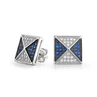 Bling Jewelry 925 Silver Blue CZ Two Tone Pyramid Studs