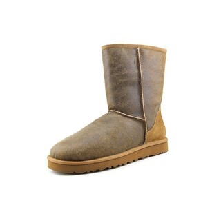 Ugg Australia M Classic Short Bomber Men Round Toe Suede Brown Snow Boot