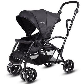 Costway Folding Baby Sit and Stand Ultra Tandem Stroller Pushchair Double Kids Black