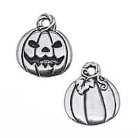 TierraCast Antiqued Silver Lead-Free Charm - Jack O' Lantern Pumpkin Halloween 18mm (2)
