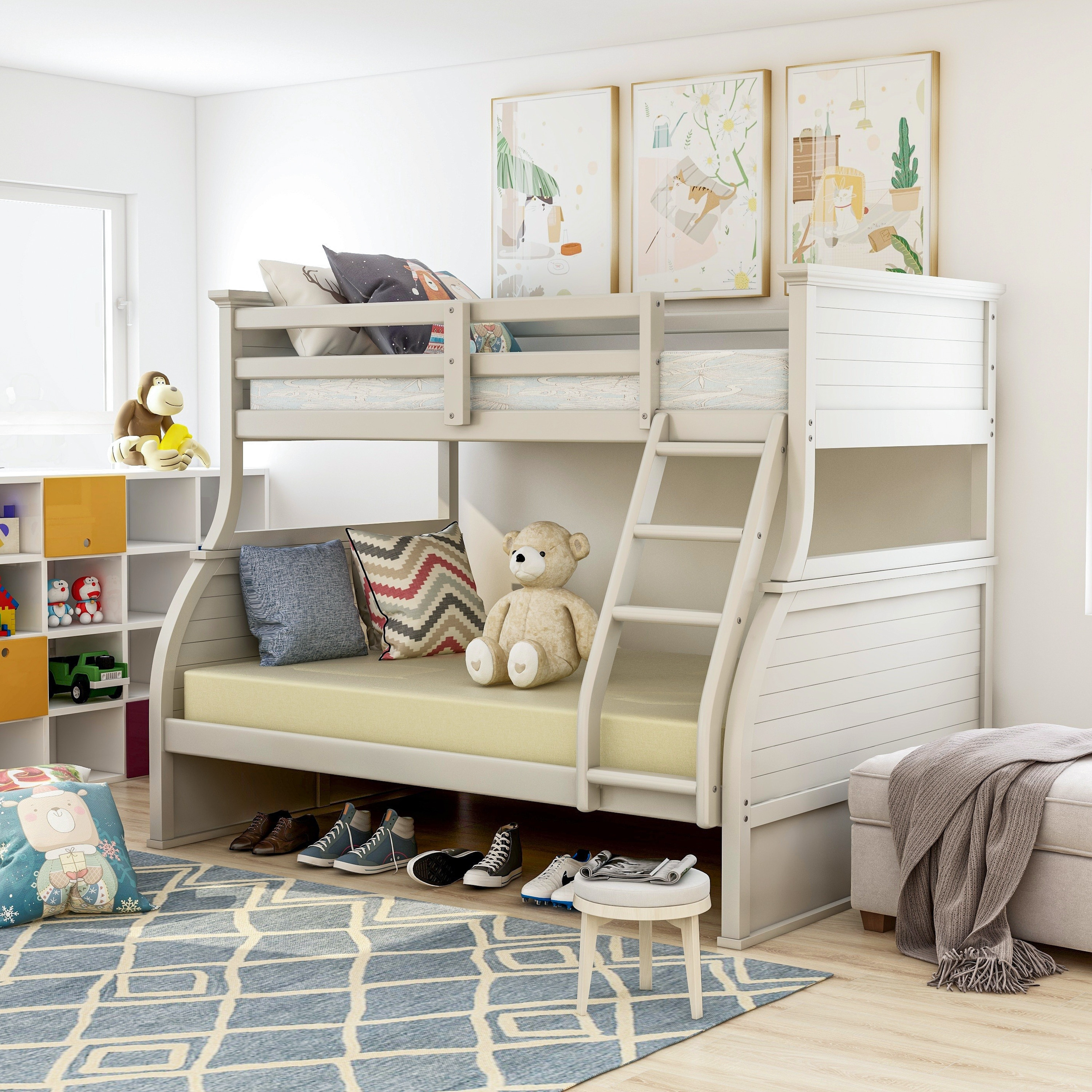 Furniture Of America Farl Modern White Twin Over Full Youth Bunk Bed Overstock 20603152