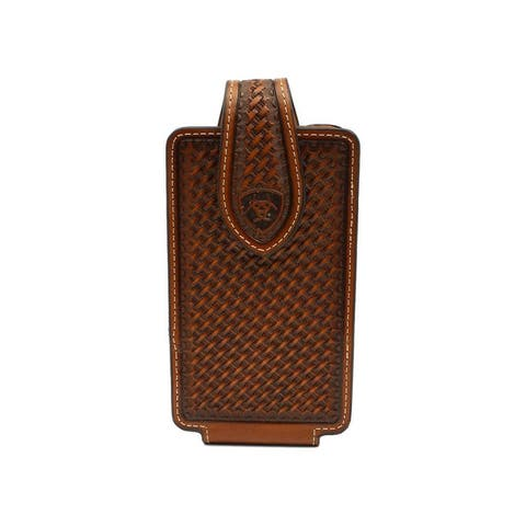 Ariat Western Cell Phone Case Leather Basketweave Brown