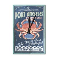 Port Angeles WA - Dungeness Crab Sign - LP Artwork (Acrylic Wall Clock) - acrylic wall clock