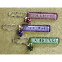 """4.5"""" Wine Theme Pink Grapes """"SALUTE"""" Bottle Tag Christmas Ornament #908334"""