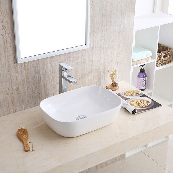"Karran VC-511-WH Valera 20"" Vitreous China Vessel Bathroom Sink in White. Opens flyout."