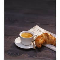 Poster Print entitled Espresso, croissant and newspaper - multi-color