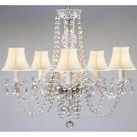 Swarovski Elements Crystal Trimmed Plug in Chandelier with Shades - Clear