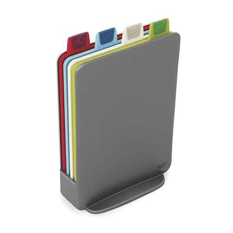 Joseph Joseph 60098 Index Cutting Board Set with Storage Case Plastic Color Coded Dishwasher-Safe, Mini, Gray