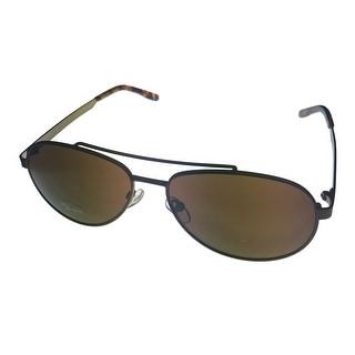 Levi Rxable Sunglass LS813 1 Dark Brown Mens Metal Aviator, Solid Brown Lens - Medium