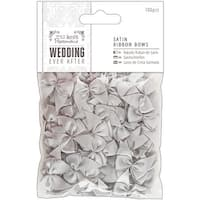 Papermania Ever After Wedding Ribbon Bows 27mm 100/Pkg-Silver Satin