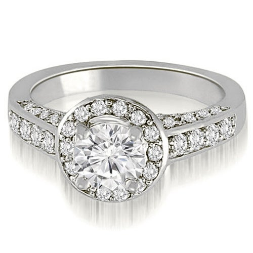 1.00 cttw. 14K White Gold Halo Round Cut Diamond Engagement Ring