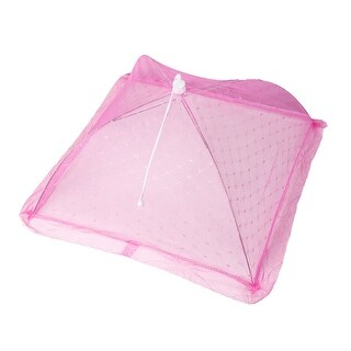 """Unique Bargains 21.3"""" x 21.3"""" Flowers Print Square Shaped Collapsible Food Picnic Cover Pink"""