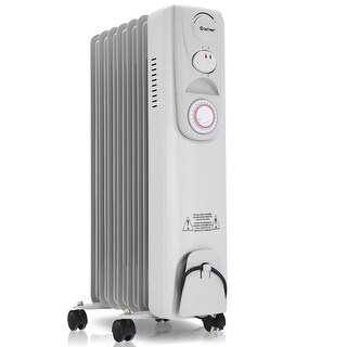 Costway 1500W Electric Oil Filled Radiator Heater 7-Fin Timer Thermostat Safety Shut-Off - White