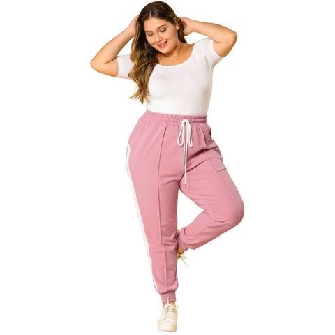 Women's Plus Size Sweatpants Elastic Waist Contrast Color Jogger Pants - Pink