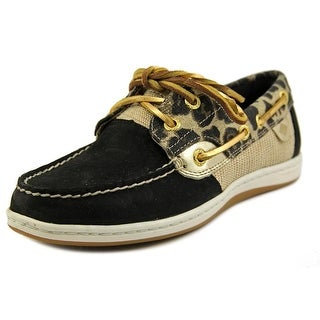 Sperry Top Sider Koifish Women Moc Toe Canvas Black Boat Shoe