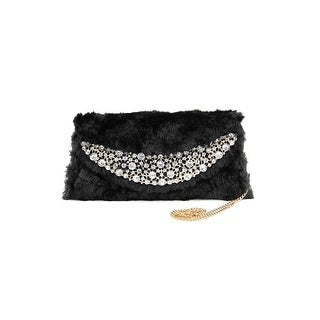 Adrienne Landau Upper East Side Women Faux Suede Clutch NWT - Black