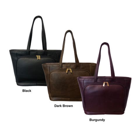 Amerileather Cosmopolitan Leather Zip-Top Tote Bag