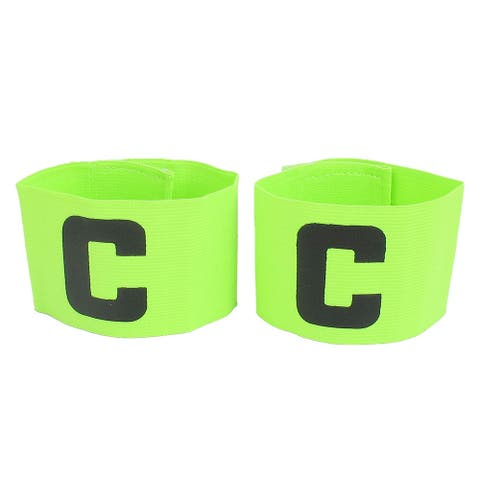 C Printed Elastic Football Tension Soccer Leader Player Captain Armband Yellow Green 2pcs - Black, Yellow Green