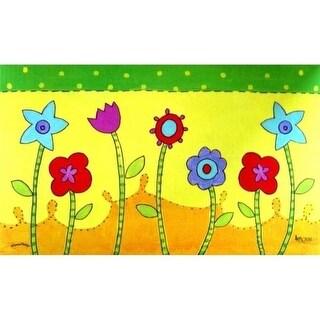 Custom Printed Rugs AWV057 Flower Patch Doormat Rug Green - 18 x 30 in.