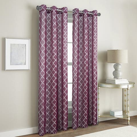Stratford Metallic Doily 2-Pack Grommet Curtain Panel Pair - (2x) 38 x 84 in. (total width 76 in.)