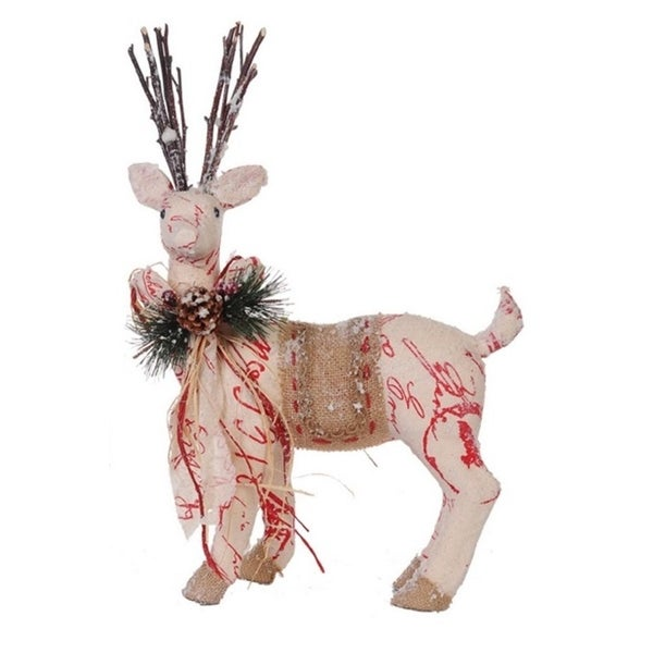 "17"" Country Cabin Snow Flocked Left Facing Reindeer Christmas Figure"