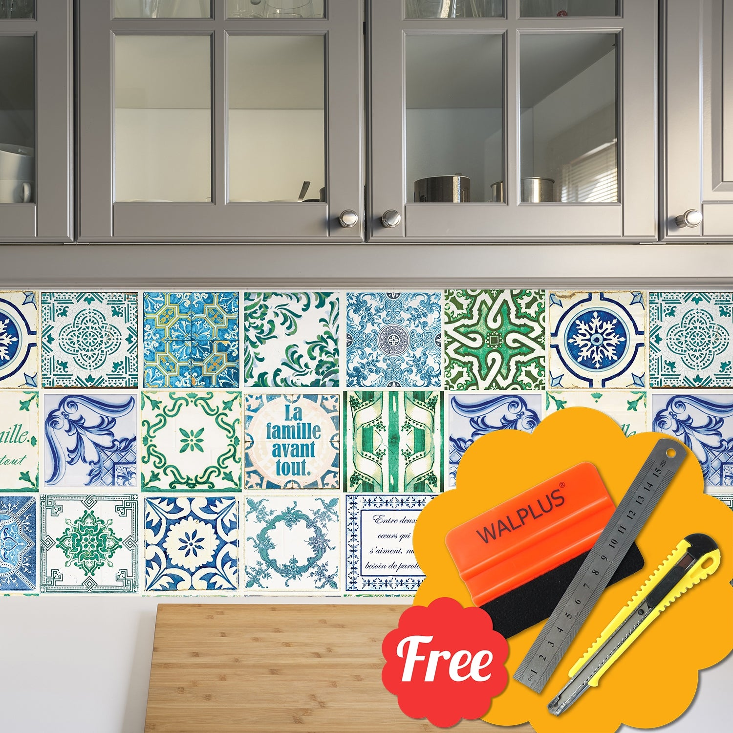 """6/""""/' Walplus Retro Brown /& Blue Mix English Quote Tile Wall Sticker Decals Size"""