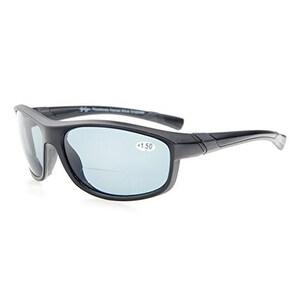 Eyekepper TR90 Polarized Bifocal Sport Sunglasses Matte Black Frame Grey Lens+2.0