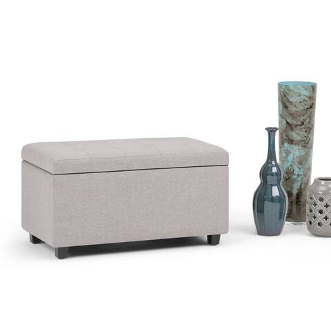 WYNDENHALL Essex 34 inch Wide Contemporary Rectangle Storage Ottoman Faux Air Leather