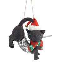 Set of 12 Gray and Red Slinky Cat Decorative Figurines with Christmas Cap 5""