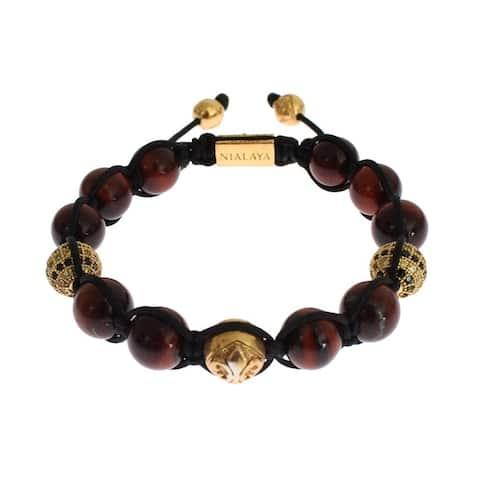 Nialaya CZ Red Tigers Eye Gold 925 Silver Women's Bracelet
