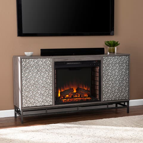 Silver Orchid Hampden Contemporary Gray Wood Electric Fireplace