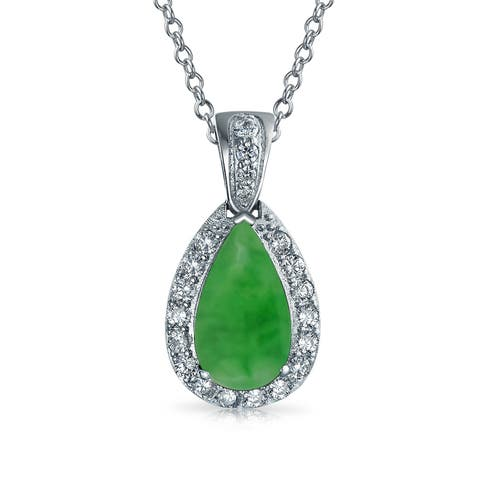 Pave AAA CZ Halo Green Imitation Jade Pear Shaped Teardrop Pendant Necklace For Women Silver Plated
