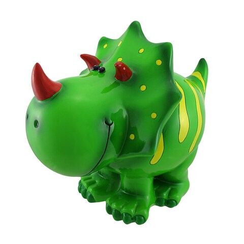 Children`s Jumbo Green Triceratops Dinosaur Coin Bank