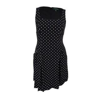 Ralph Lauren Women's Polka Dot Print Sleeveless Dress