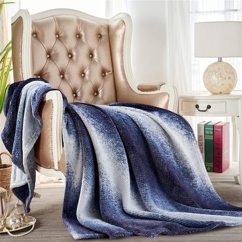 Waffle Flannel Fleece Velvet Plush Throw Blanket Gradient Decorative