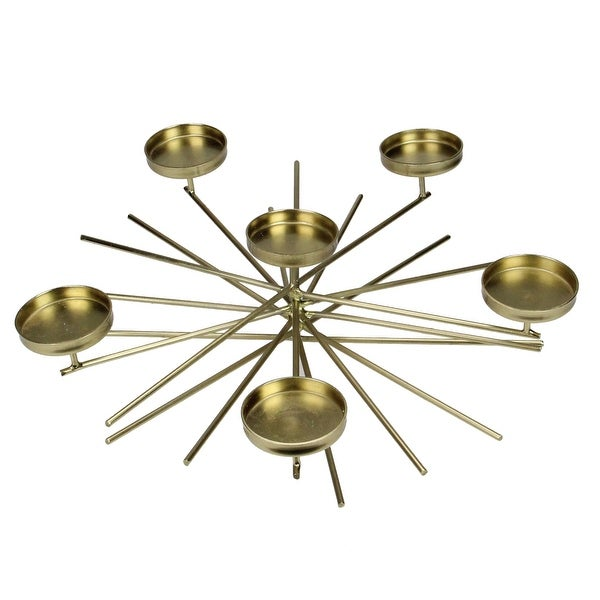 """13"""" Gold Contemporary Starburst Tabletop 6 Votive Candle Holder - N/A"""