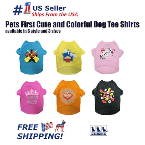 Pets First Cute Fashionable and Colorful Dog Tee Shirt available in 6 style color and 3 size