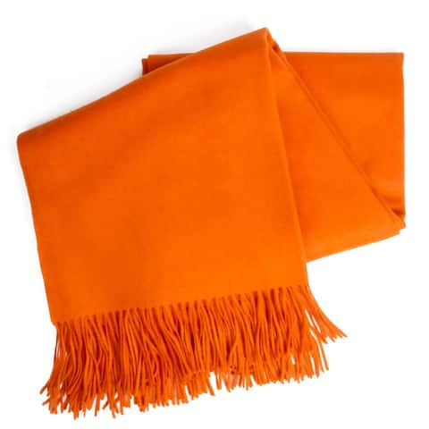 STP-Goods Orange Cashmere & Wool Throw Blanket