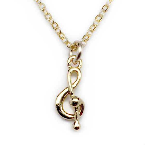 "Julieta Jewelry Treble Clef Gold Charm 16"" Necklace"