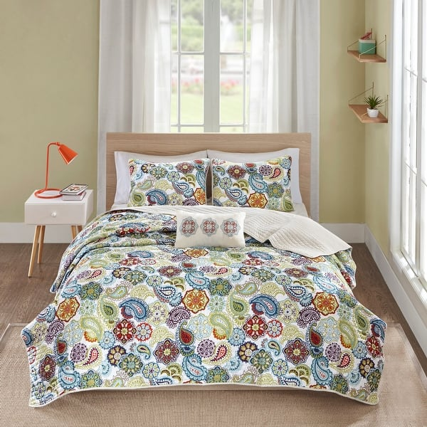 The Curated Nomad Stanyan Multi Paisley Quilted Coverlet Set. Opens flyout.