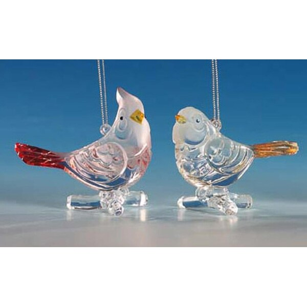 """Club Pack of 12 Icy Crystal Decorative Bird Ornaments 3"""""""