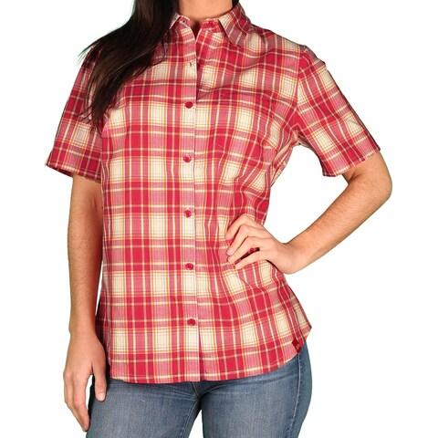 Dickies Womens Short Sleeve Plaid Blouse